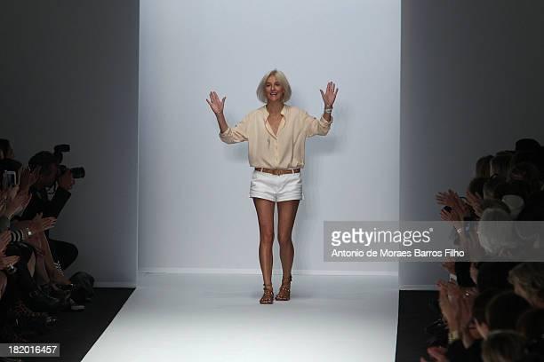 Designer Vanessa Bruno walks the runway during Vanessa Bruno show as part of the Paris Fashion Week Womenswear Spring/Summer 2014 on September 27...