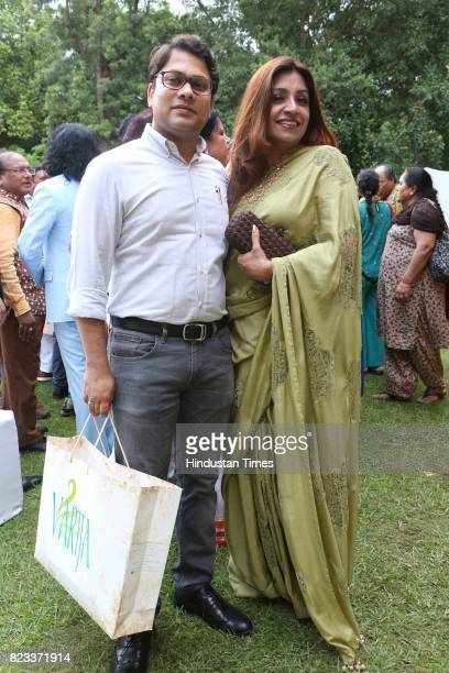 Designer Varija Bajaj during the Teej festival celebrations organised at the residence of Union Minster Smriti Irani on July 25 2017 in New Delhi...