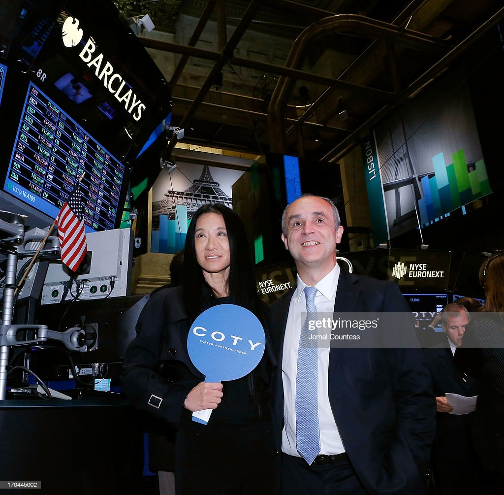 Designer Vera Wang and Coty CEO Michele Scannavini at the New York Stock Exchange for the public debut of Coty on the New York Stock Exchange on June 13, 2013 in New York City. Global beauty company Coty made its public debut today.