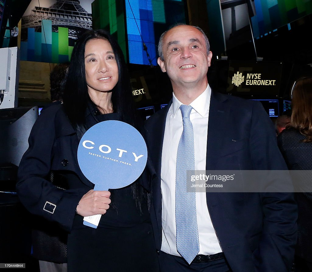 Designer Vera Wang and Coty CEO Michele Scannavinil at the New York Stock Exchange for the public debut of Coty on the New York Stock Exchange on June 13, 2013 in New York City. Global beauty company Coty made its public debut today.