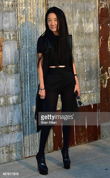 Designer Vera Wang attends the Givenchy show during Spring 2016 New York Fashion Week at Pier 26 on September 11 2015 in New York City