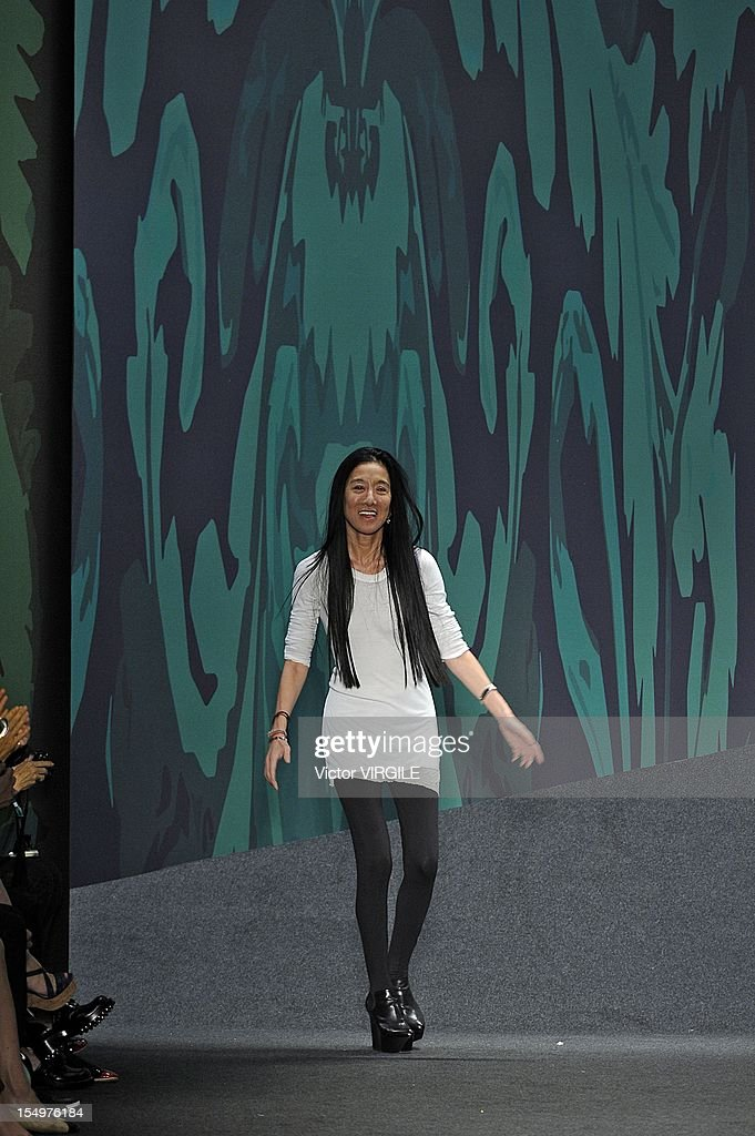 Designer Vera Wang walks the runway during the Vera Wang Runway Show during the Spring 2013 Mercedes-Benz Fashion Week at The Stage Lincoln Center on September 11, 2012 in New York City.