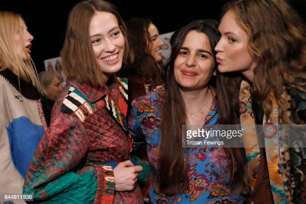Designer Veronica Etro and models pose for photographers in the backstage ahead of the Etro show during Milan Fashion Week Fall/Winter 2017/18 on...