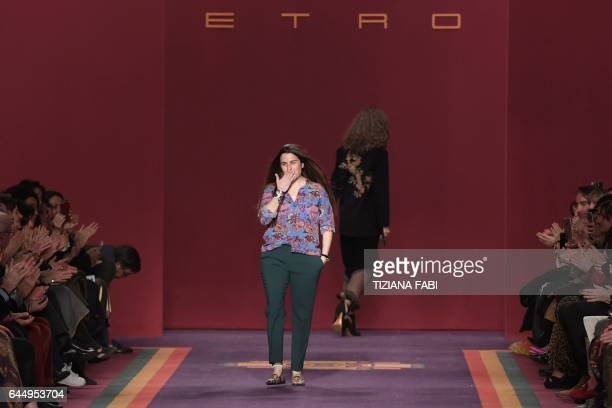 Designer Veronica Etro greets the audience at the end of her show for fashion house Etro during the Women's Fall/Winter 2017/2018 fashion week in...
