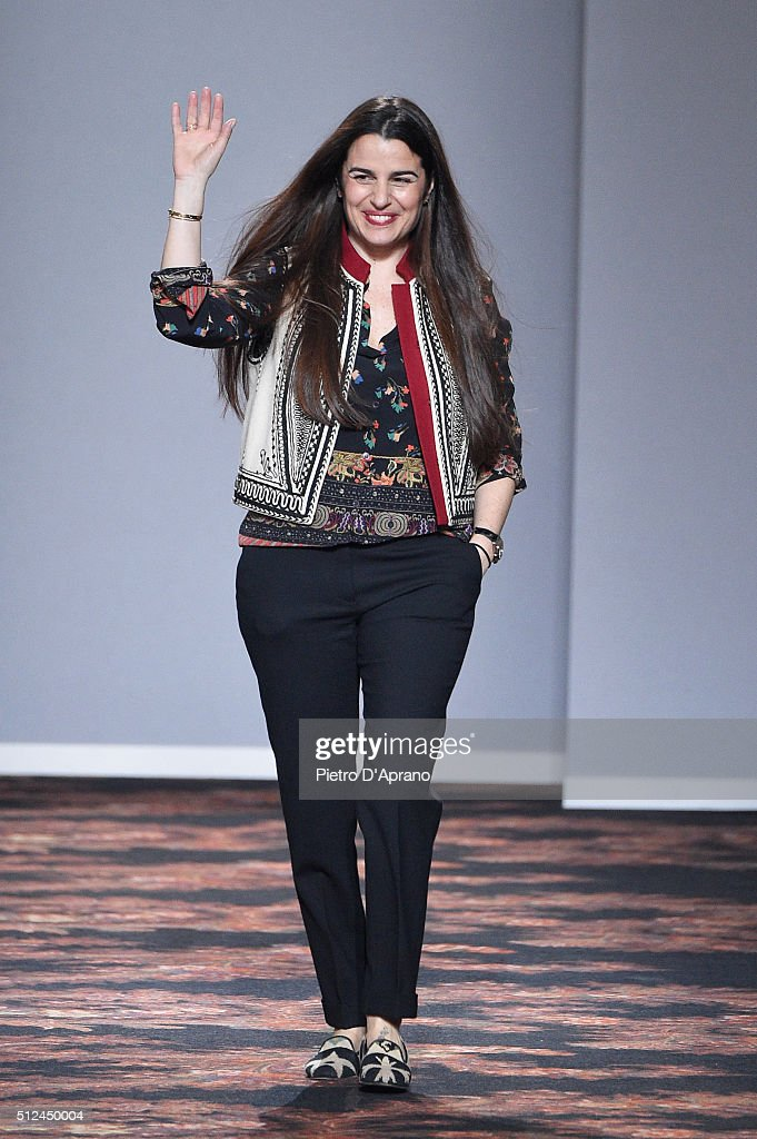 Designer Veronica Etro walks the runway after the Etro show during Milan Fashion Week Fall/Winter 2016/17 on February 26, 2016 in Milan, Italy.