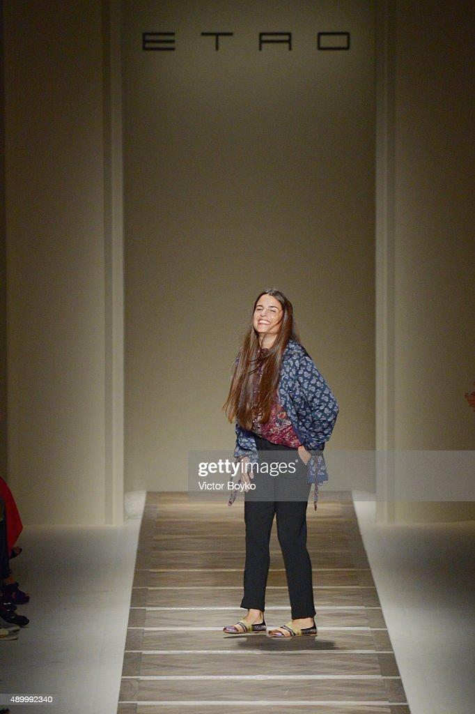 Designer Veronica Etro walks the runway during the Etro fashion show as part of Milan Fashion Week Spring/Summer 2016 on September 25, 2015 in Milan, Italy.