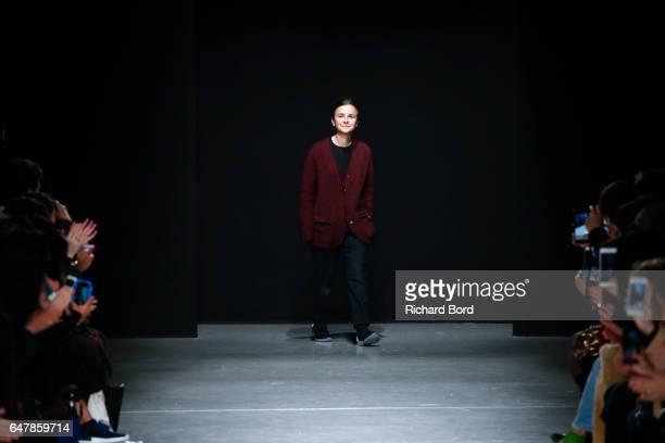Designer Veronique Leroy acknowledges the audience during the Veronique Leroy show at Palais de Tokyo as part of the Paris Fashion Week Womenswear...