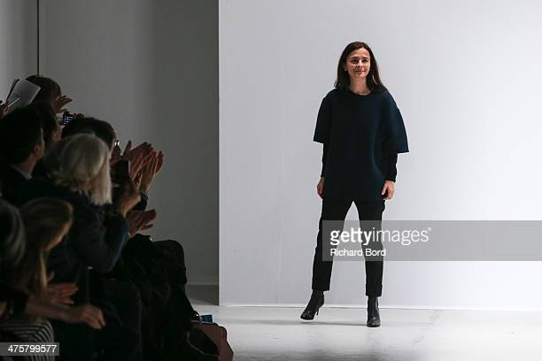 Designer Veronique Leroy acknowledges the public after her show as part of the Paris Fashion Week Womenswear Fall/Winter 20142015 at Palais de Tokyo...