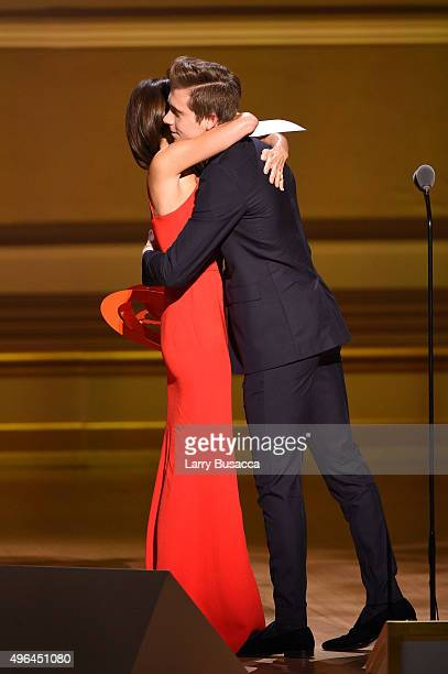 Designer Victoria Beckham and Brooklyn Beckham onstage at the 2015 Glamour Women of the Year Awards on November 9 2015 in New York City