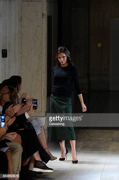 Designer Victoria Beckham on the runway at the Victoria Beckham Spring Summer 2015 fashion show during New York Fashion Week on September 7 2014 in...