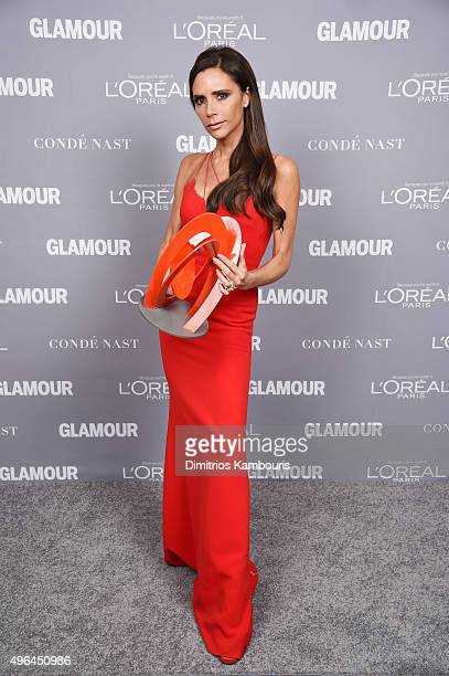 Designer Victoria Beckham poses backstage with her award at the 2015 Glamour Women Of The Year Awards at Carnegie Hall on November 9 2015 in New York...
