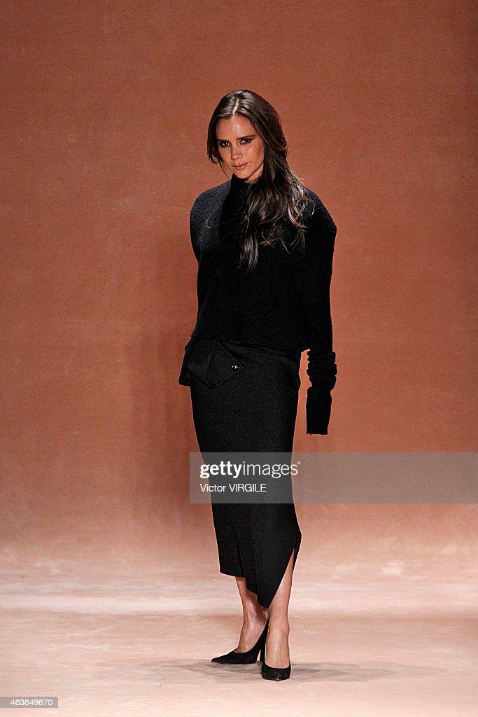 Designer Victoria Beckham walks the runway at the Victoria Beckham fashion show during MercedesBenz Fashion Week Fall 2015 at The Cunard Building on...