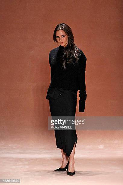 Designer Victoria Beckham walks the runway at the Victoria Beckham fashion show during MercedesBenz Fashion Week Fall 2015 at The Cunard Building on...