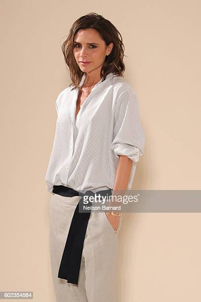 Designer Victoria Beckham walks the runway at the Victoria Beckham Spring/Summer 2017 fashion show during New York Fashion Week on September 11 2016...