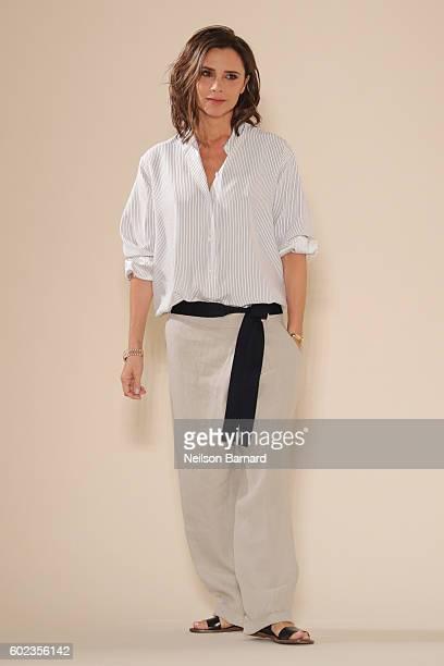 Designer Victoria Beckham walks the runway at the Victoria Beckham Spring/Summer 2017 fashion show during New York Fashion Week on September 11 2016...