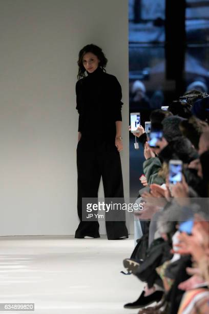 Designer Victoria Beckham walks the runway for the Victoria Beckham collection during New York Fashion Week The Shows on February 12 2017 in New York...