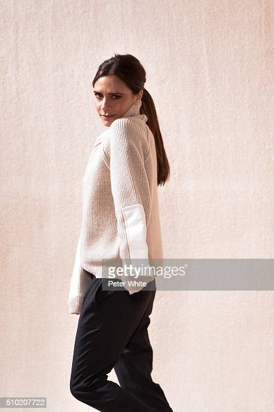 Designer Victoria Beckham walks the runway of the Victoria Beckham show Fall 2016 during New York Fashion Week at The Cunard Building on February 14...