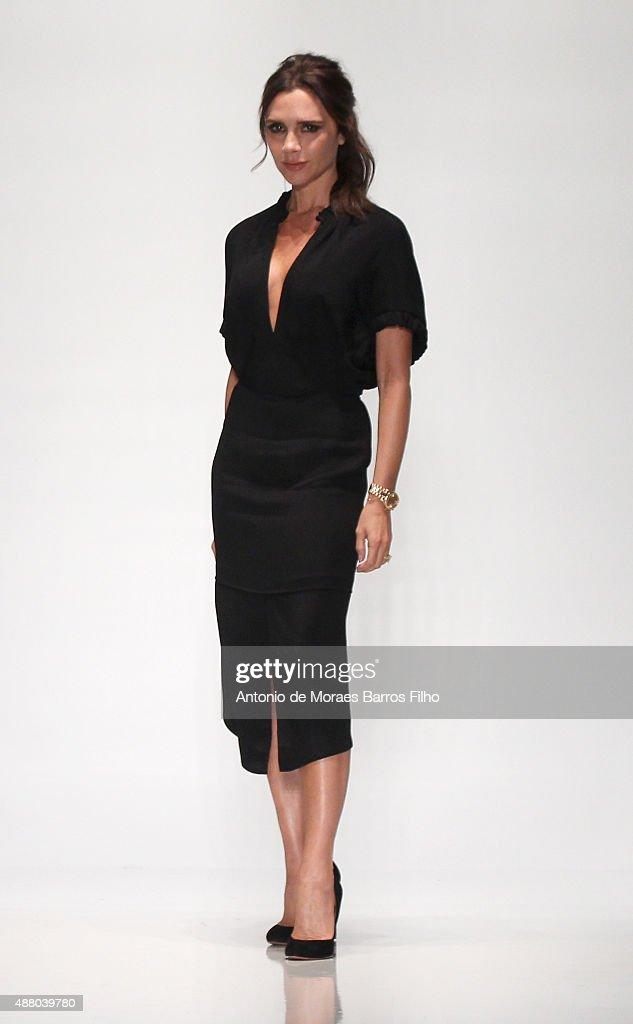 Designer Victoria Beckham walks the runway wearing Victoria Beckham Spring 2016 during New York Fashion Week at The Cunard Building on September 13...