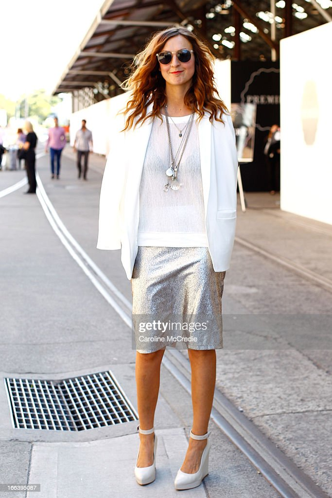 Designer Victoria Bolton wears an outfit by Staple the Label at MercedesBenz Fashion Week Australia Spring/Summer 2013/14 at Carriageworks on April...