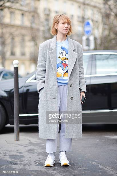Designer Vika Gazinskaya poses before the Elie Saab show at the Theatre National de Chaillot during Haute Couture Spring Summer 16 on January 27 2016...
