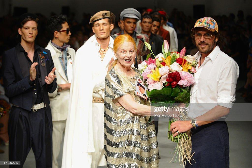 Designer Vivienne Westwood acknowledge the audience at the and of the Vivienne Westwood show during Milan Menswear Fashion Week Spring Summer 2014 on June 23, 2013 in Milan, Italy.