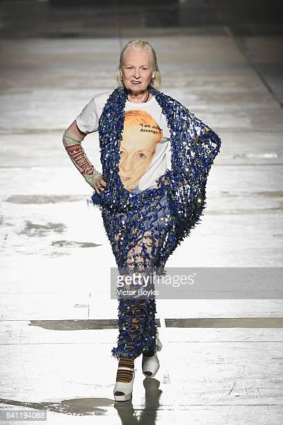 Designer Vivienne Westwood acknowledges the applause of the public after the Vivienne Westwood show during Milan Men's Fashion Week Spring/Summer...