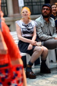 Designer Vivienne Westwood and Andreas Kronthaler watch models rehearse before her Red Label show on day 3 of London Fashion Week Spring/Summer 2013...