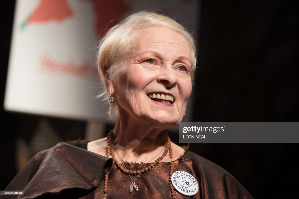 Designer Vivienne Westwood receives the applause following her presentation at the Spring / Summer 2016 London Fashion Week in London on September 20...