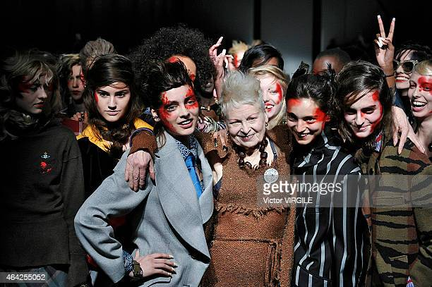 Designer Vivienne Westwood walks the runway at the Vivienne Westwood Red Label show during London Fashion Week Fall/Winter 2015/16 at Science Museum...