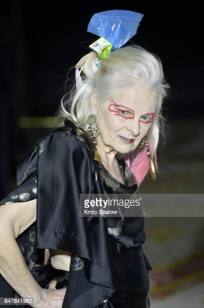 Designer Vivienne Westwood walks the runway during the Vivienne Westwood show as part of Paris Fashion Week Womenswear Fall/Winter 2017/2018 on March...