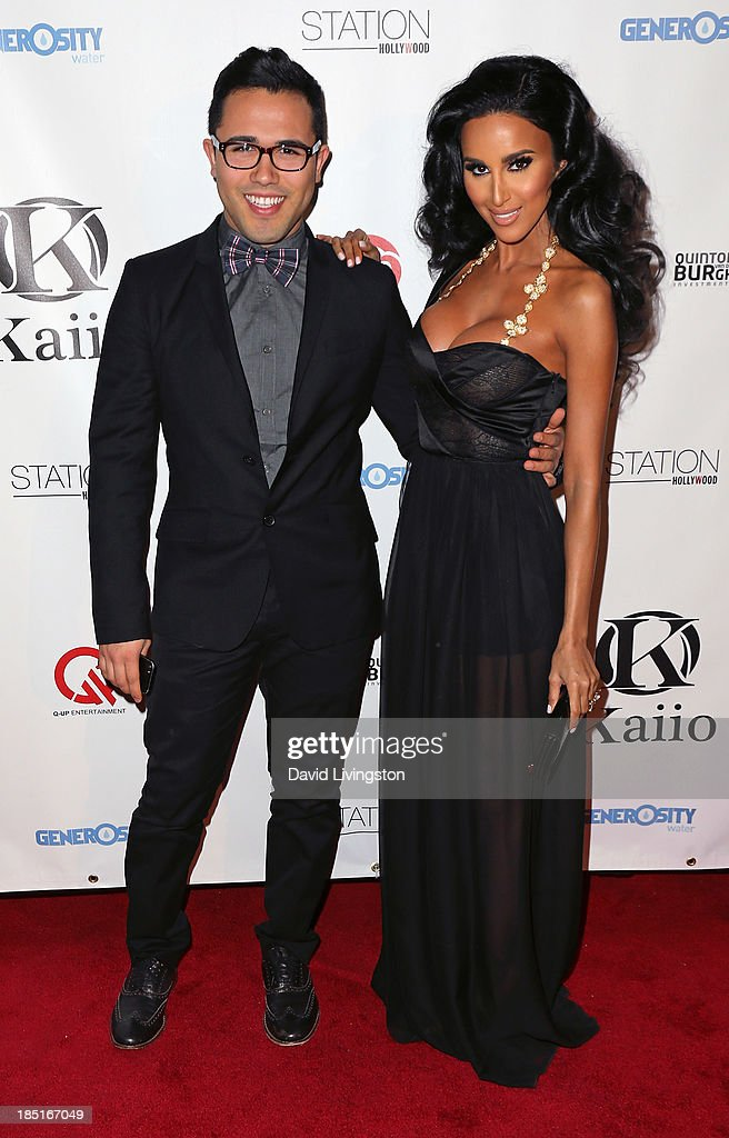 Designer Walter Mendez (L) and TV personality Lilly Ghalichi attend the Kaiio's launch event at Station Hollywood at the W Hollywood Hotel on October 17, 2013 in Hollywood, California.