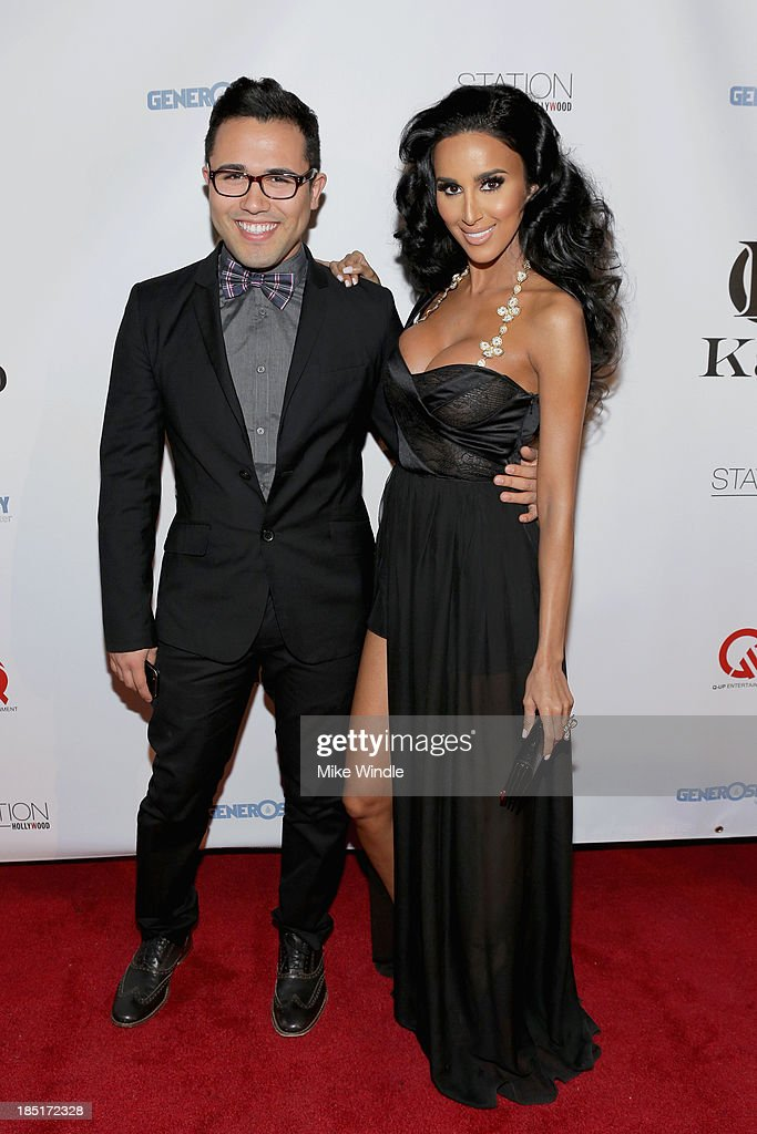 Designer Walter Mendez (L) and TV personality Lilly Ghalichi attend the Kaiio's launch event at Station Hollywood at W Hollywood Hotel on October 17, 2013 in Hollywood, California.
