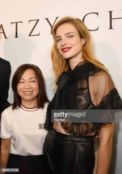 Designer Wang Chen TsaiHsia and Natalia Vodianova attend the Schiatzy Chen show as part of the Paris Fashion Week Womenswear Spring/Summer 2018 on...