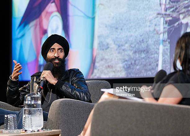 Designer Waris Ahluwalia speaks onstage during Indian Summer Festival at Goldcorp Centre for the Arts on June 10 2016 in Vancouver Canada
