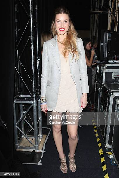 Designer Whitney Port poses for a photo backstage ahead of the Whitney Eve We By Whitney Eve show on day one of MercedesBenz Fashion Week Australia...