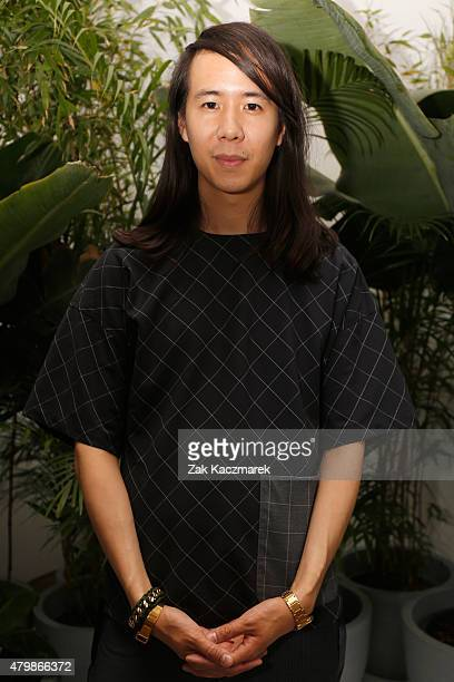 Designer William Fan is seen backstage ahead of the William Fan show during the MercedesBenz Fashion Week Berlin Spring/Summer 2016 at Stage at me...