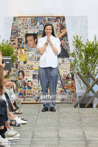 Designer William Fan is seen on the runway during the William Fan defile during 'Der Berliner Mode Salon' Spring/Summer 2018 at Kronprinzenpalais on...