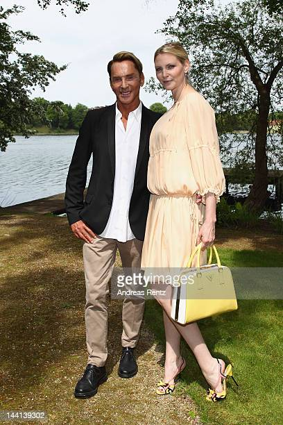 Designer Wolfgang Joop and model Nadja Auermann arrive for the Wunderkind Fall / Winter 2012 fashion show at Villa Wunderkind on May 10 2012 in...