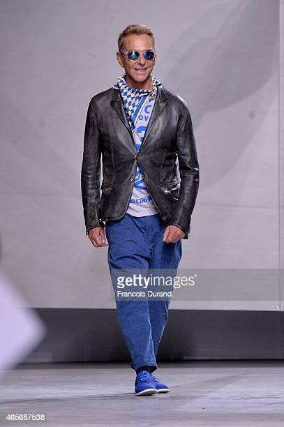 Designer Wolfgang Joop walks the runway during the Wunderkind show as part of the Paris Fashion Week Womenswear Fall/Winter 2015/2016 at Palais De...