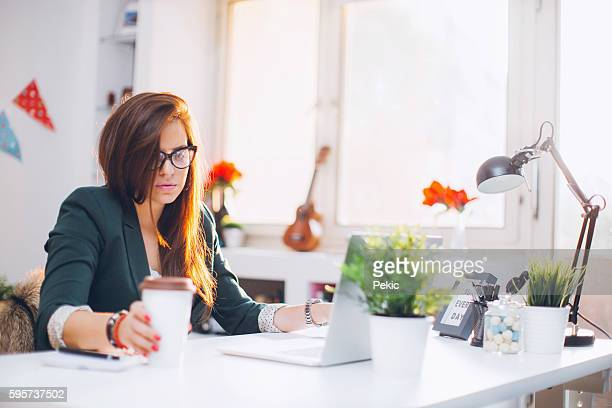 Designer working at home office