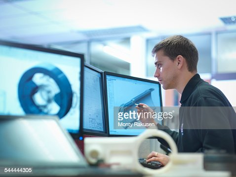 CAD designer working on engineering designs