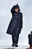 Designer Yohji Yamamoto walks the runway during the Y3 Menswear Fall/Winter 20152016 show as part of Paris Fashion Week on January 25 2015 in Paris...