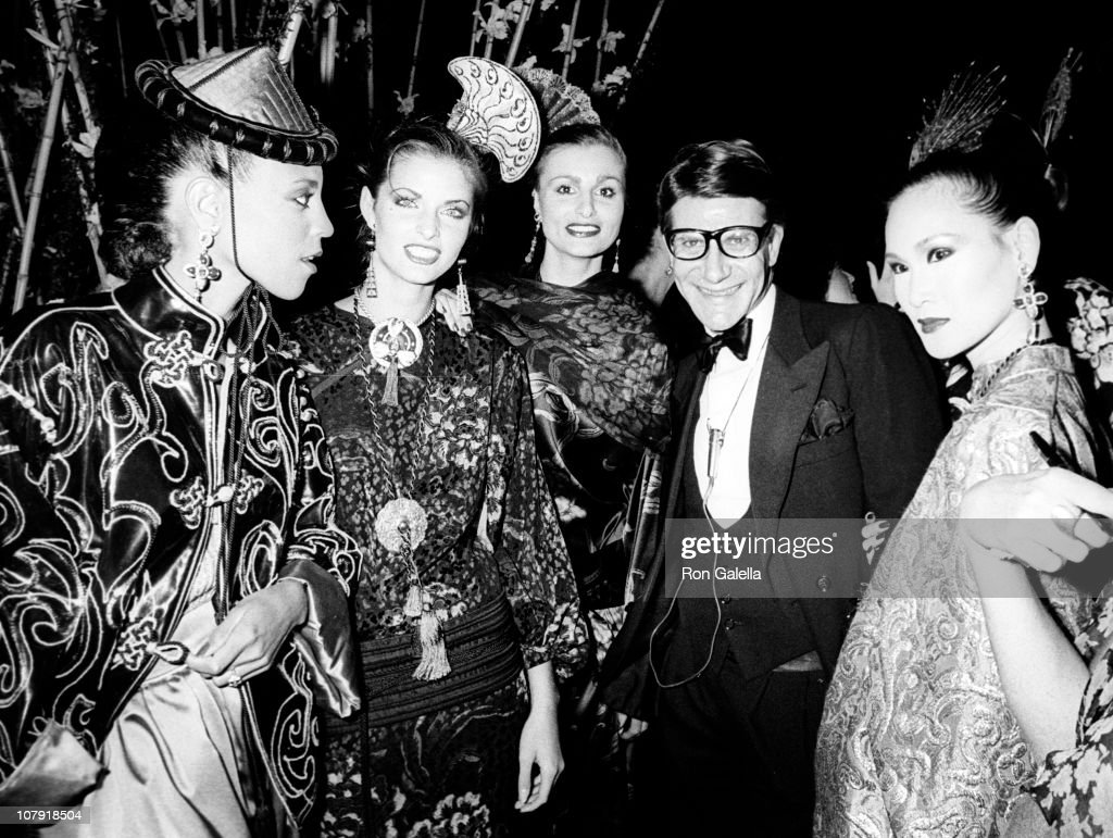 Designer Yves Saint Laurent and models attend Yves Saint Laurent Presents Opium Perfume on September 20, 1978 aboard the Peking in New York City.