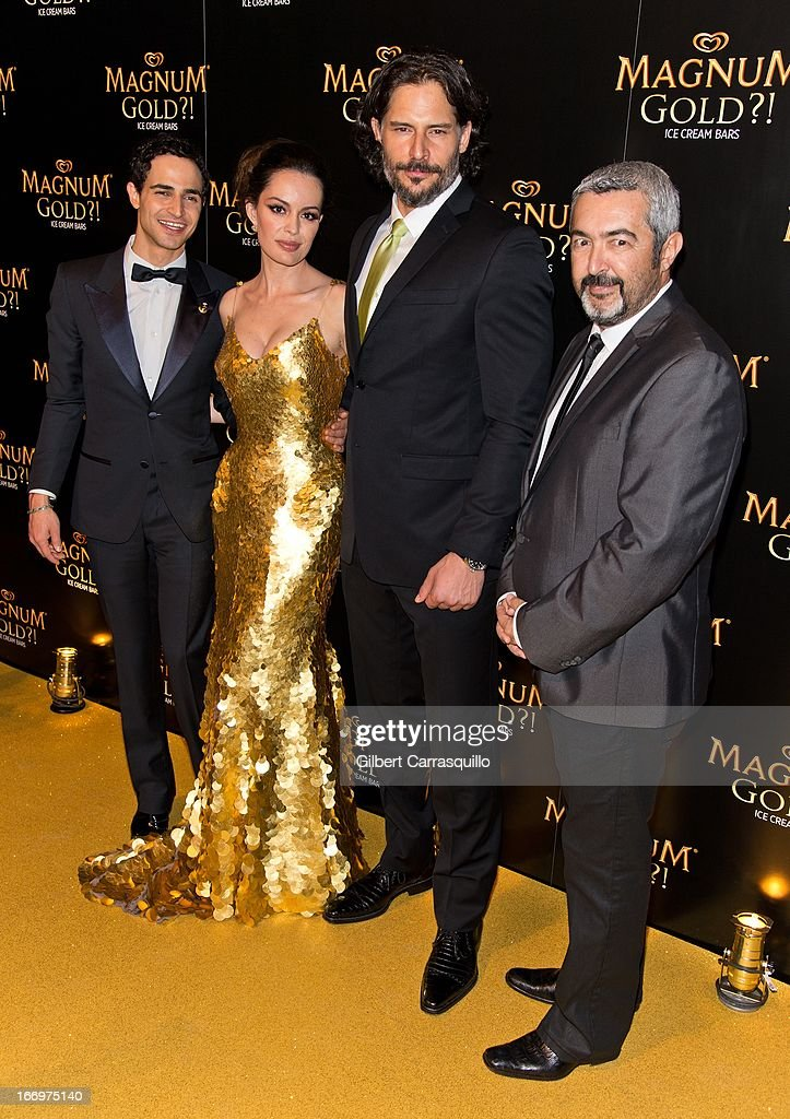 Designer Zac Posen, actress Caroline Correa wearing a Zac Posen one-of-a-kind 24k gold dress valued at $1.5 million, actor <a gi-track='captionPersonalityLinkClicked' href=/galleries/search?phrase=Joe+Manganiello&family=editorial&specificpeople=2516889 ng-click='$event.stopPropagation()'>Joe Manganiello</a> and director <a gi-track='captionPersonalityLinkClicked' href=/galleries/search?phrase=Jon+Cassar&family=editorial&specificpeople=762994 ng-click='$event.stopPropagation()'>Jon Cassar</a> attend the premiere of 'As Good As Gold' during the 2013 Tribeca Film Festival at Gotham Hall on April 18, 2013 in New York City.