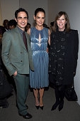 Designer Zac Posen actress Katie Holmes and producer Jane Rosenthal pose backstage at the Zac Posen Fall 2016 fashion show during New York Fashion...