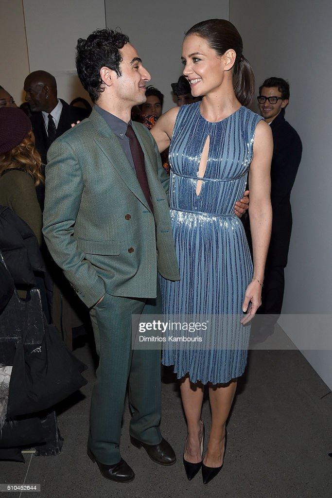 Designer Zac Posen and actress Katie Holmes pose backstage at the Zac Posen Fall 2016 fashion show during New York Fashion Week at Spring Studios on...