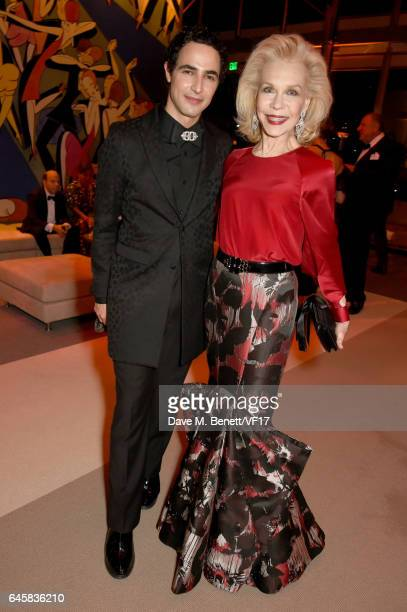 Designer Zac Posen and Lynn Wyatt attend the 2017 Vanity Fair Oscar Party hosted by Graydon Carter at Wallis Annenberg Center for the Performing Arts...