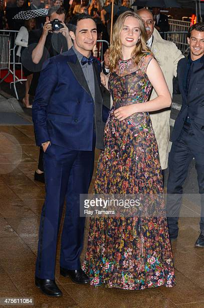 Designer Zac Posen and Maya ThurmanHawke enter the 2015 CFDA Fashion Awards at Alice Tully Hall at Lincoln Center on June 1 2015 in New York City