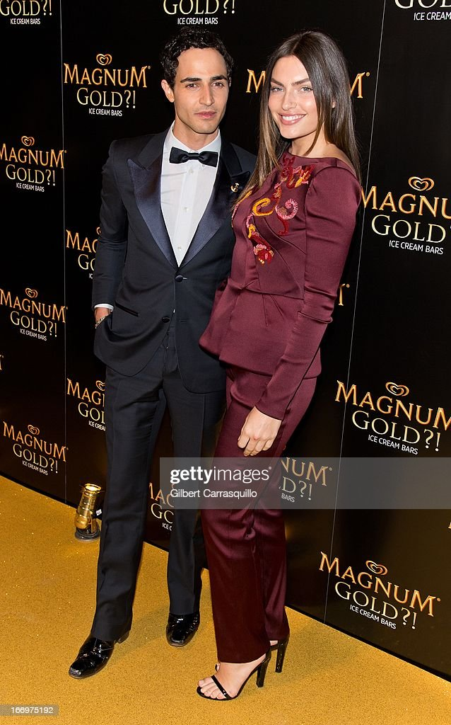 Designer Zac Posen and model <a gi-track='captionPersonalityLinkClicked' href=/galleries/search?phrase=Alyssa+Miller&family=editorial&specificpeople=5364734 ng-click='$event.stopPropagation()'>Alyssa Miller</a> attend the premiere of 'As Good As Gold' during the 2013 Tribeca Film Festival at Gotham Hall on April 18, 2013 in New York City.