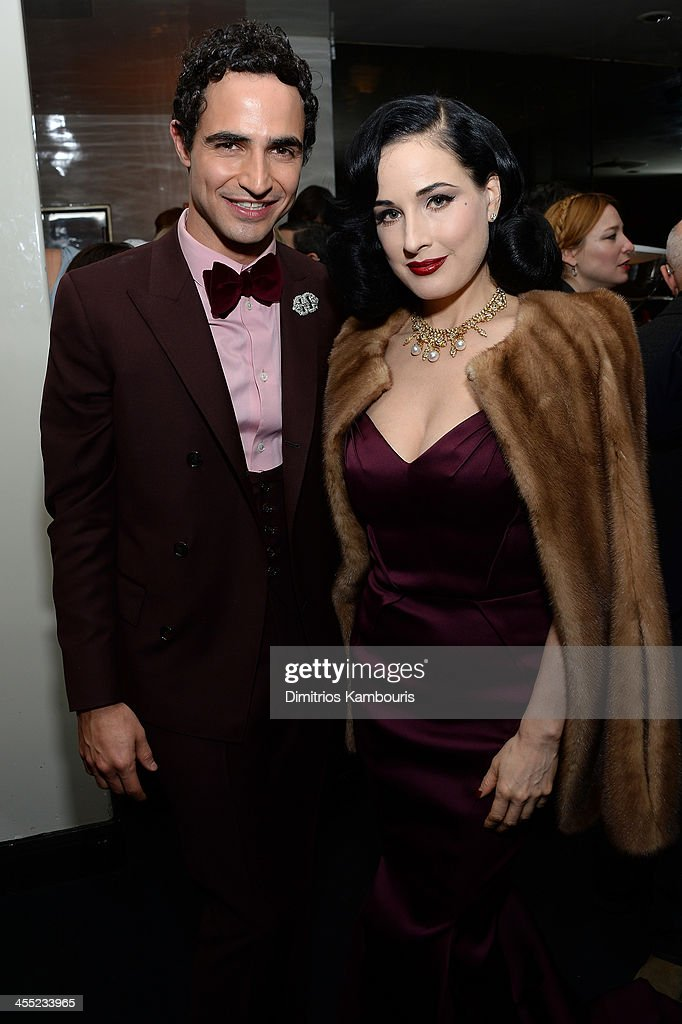 Designer Zac Posen and model <a gi-track='captionPersonalityLinkClicked' href=/galleries/search?phrase=Dita+Von+Teese&family=editorial&specificpeople=210578 ng-click='$event.stopPropagation()'>Dita Von Teese</a> attend MAC Cosmetic's John Demsey and Zac Posen's dinner to celebrate his Pre- Fall Collection at Mr Chow on December 11, 2013 in New York City.